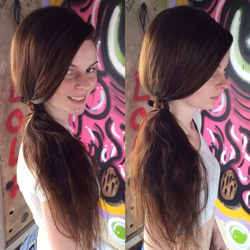 tousled side ponytail for long hair