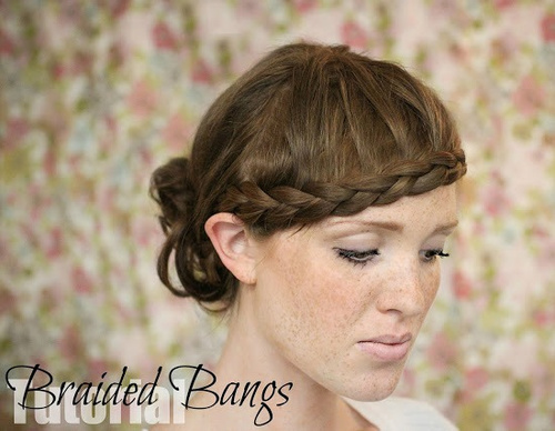 updo with braided bangs