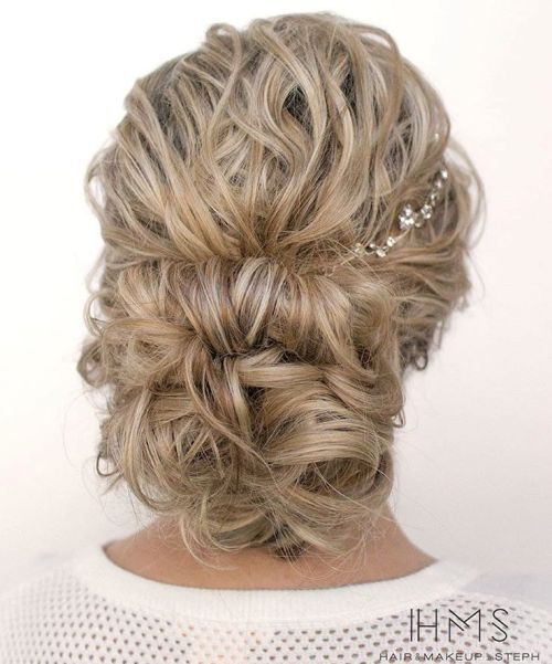 Low Curly Blonde Updo For Long Hair