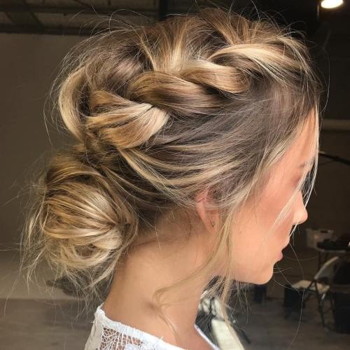 Messy Braid And Low Bun Updo