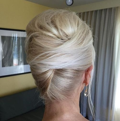 blonde french twist with a bouffant