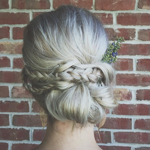 Messy Boho Chignon With A Braid