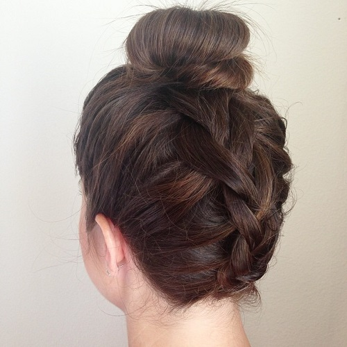Upside Down Braid And Bun Updo