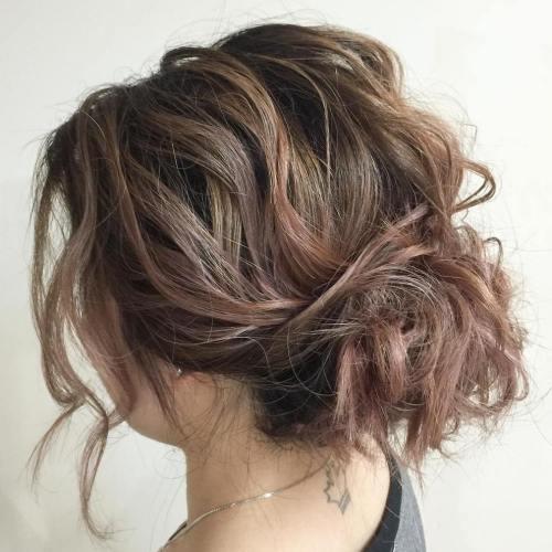 60 updos for short hair your creative short hair inspiration wavy messy bun solutioingenieria Image collections