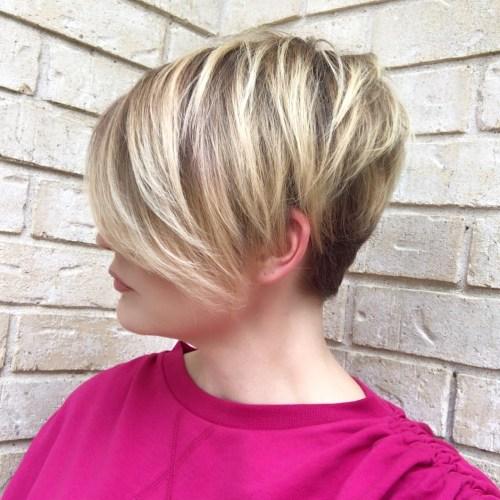 Blonde Balayage Pixie With Long Side Bangs