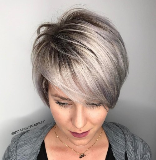 Long Pixie Cut With Metallic Balayage