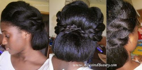 natural hair updo with twists and back roll
