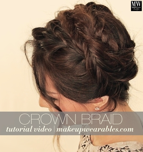 messy updo with crown braid