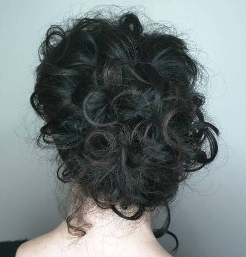Curly Bedhead Updo