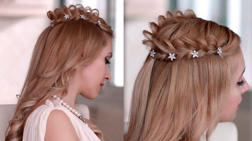 hairstyle with lacy crown braid