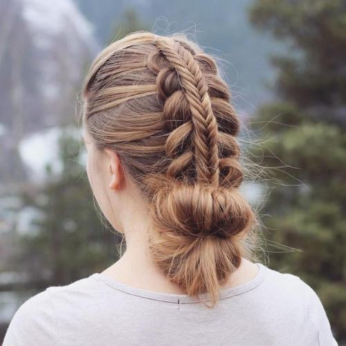 Layered Braid And Low Bun