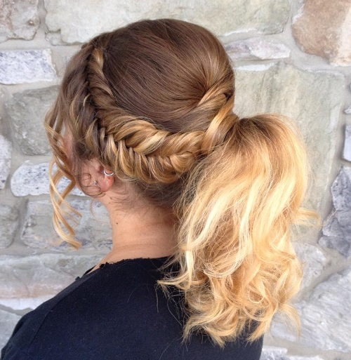 Ponytail With Bouffant And Side Fishtail