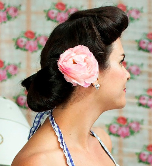 vintage updo with a flower