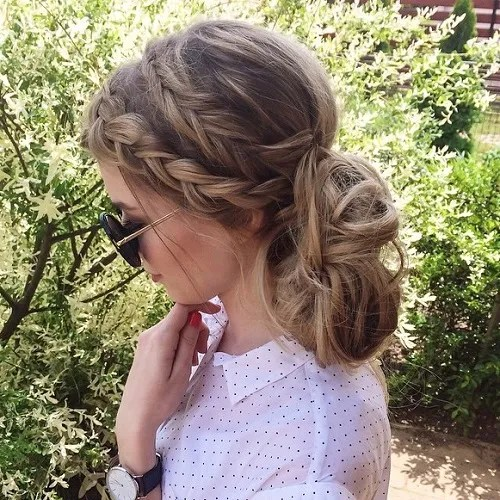 Two Braids And Low Messy Bun