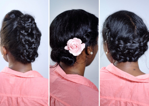 braided natural hair updo with a flower