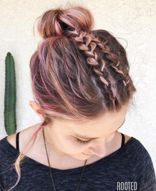 Crown Bun With Braids For Shorter Hair