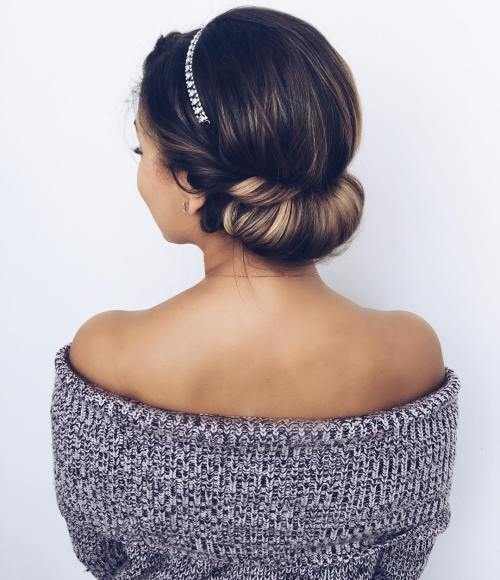 Low Roll Updo With A Headband