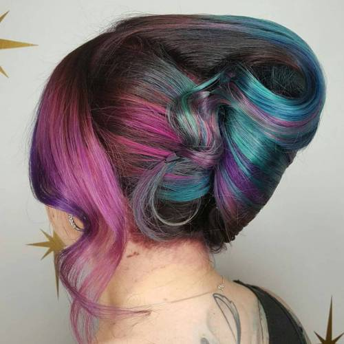 Sleek French Roll With Pastel Highlights