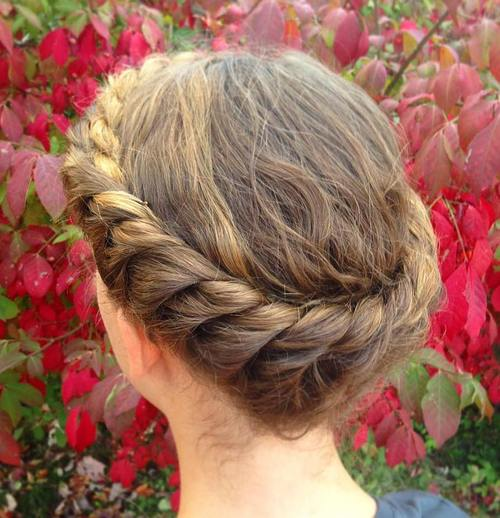 crown braid updo for medium curly hair