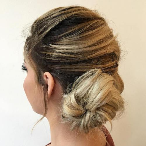 Messy Low Side Bun Updo