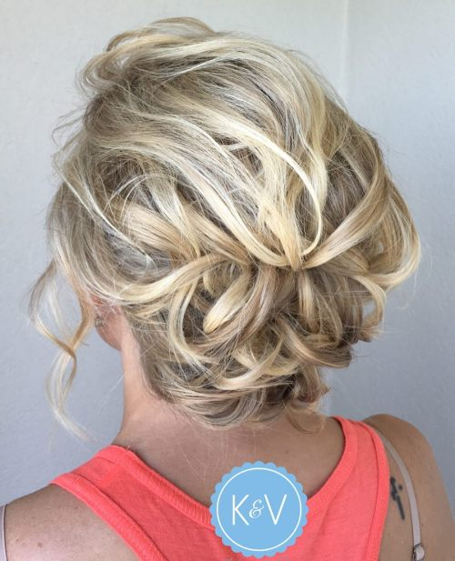 Messy Pinned Updo For Short Hair