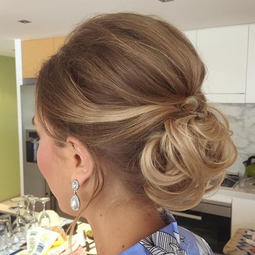 Bouffant Low Curly Bun Updo For Shorter Hair