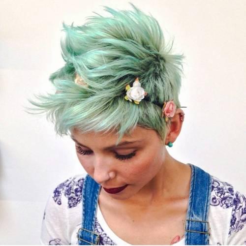 mint green choppy messy long pixie