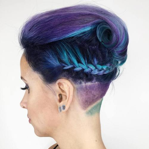 Purple And Teal Braided Undercut Hairstyle