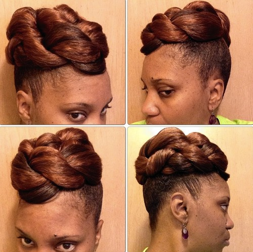 simple updo for short natural hair