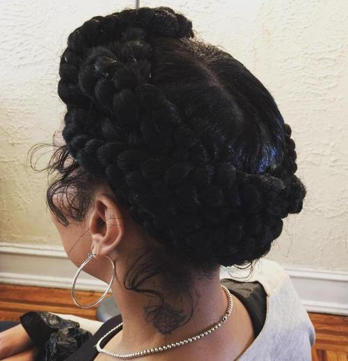 Black Updo With Crown Braids