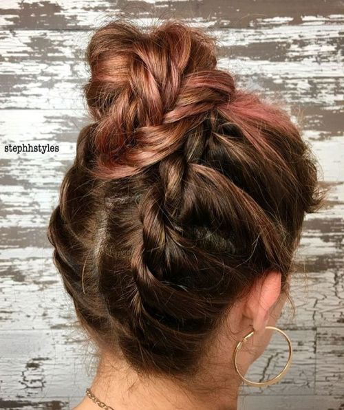 High Braided Bun With Flat Twists