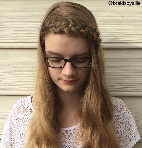 Long Hairstyle With A Headband Braid