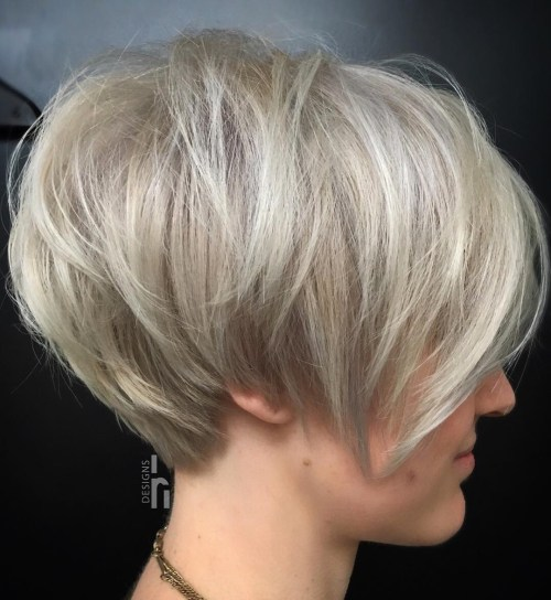 Teased Ash Blonde Pixie Bob
