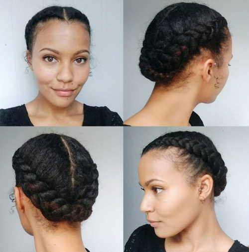 50 updo hairstyles for black women ranging from elegant to eccentric african american centre parted braided updo pmusecretfo Choice Image