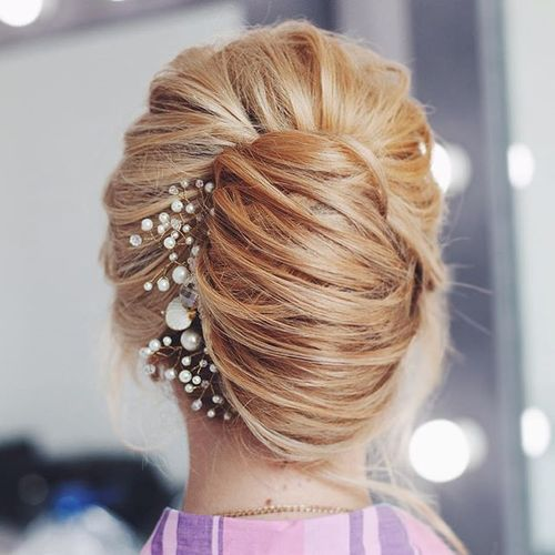 bridal blonde french twist updo