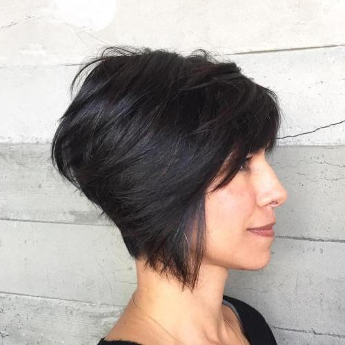 Brunette Stacked Bob Haircut