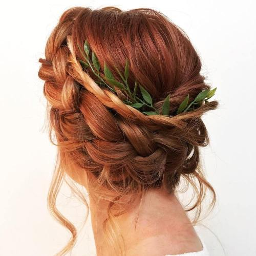 Messy Double Braid Updo
