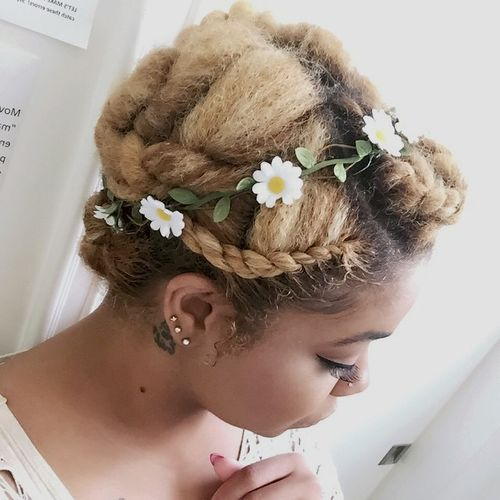 twisted updo for natural bleached hair