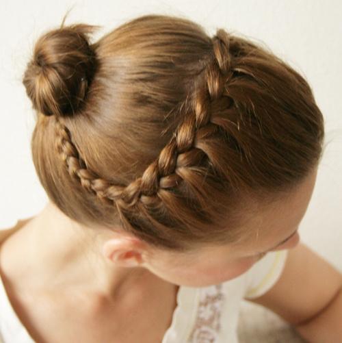 ballerina bun and braid updo