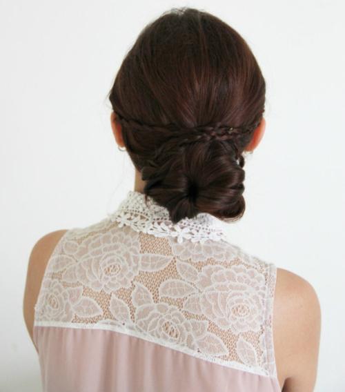 low bun braided updo