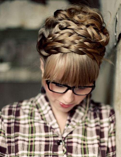 braided updo with straight bangs