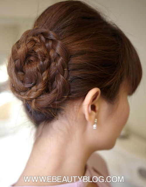 braided bun homecoming updo