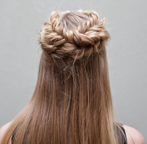 half up half down hairstyle with crown braid