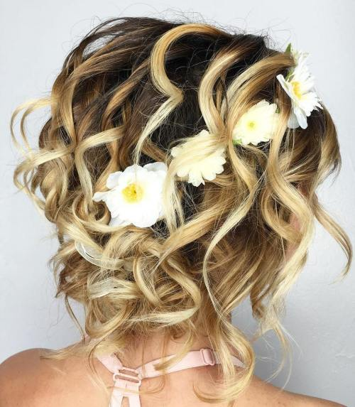 Blonde Curly Messy Updo For Shorter Hair