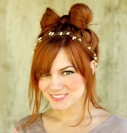 casual bow bun updo for long hair