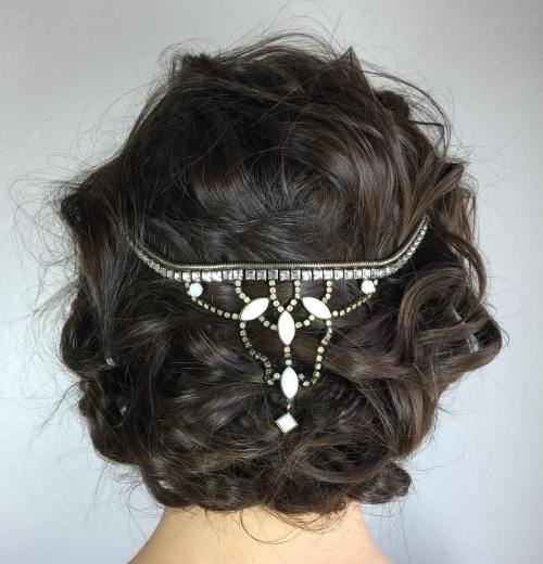 Messy Curly Brunette Updo