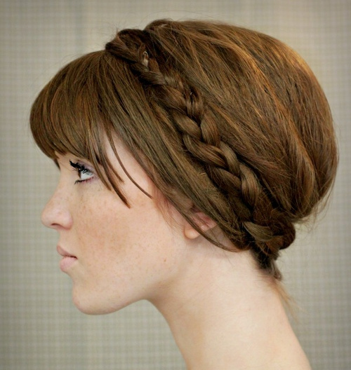Braided Updo With Bangs