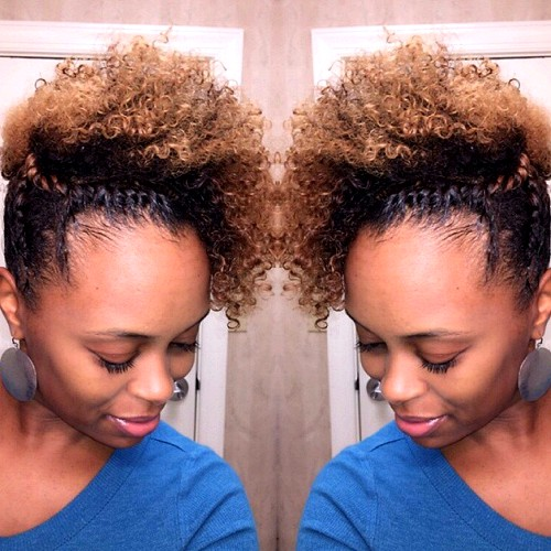 curly updo with twists for black curly hair
