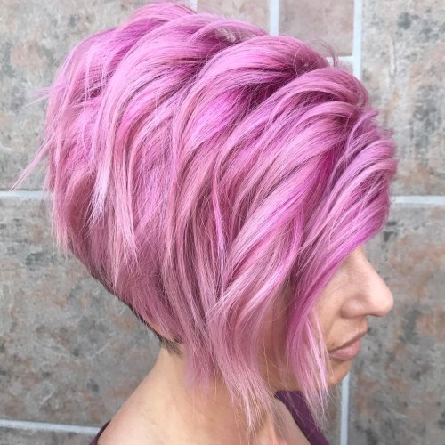 Layered Stacked Pastel Pink Bob
