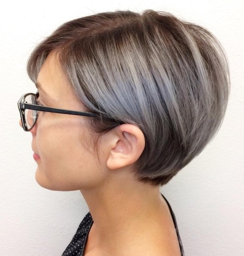 Pixie Bob With Gray Brown Balayage